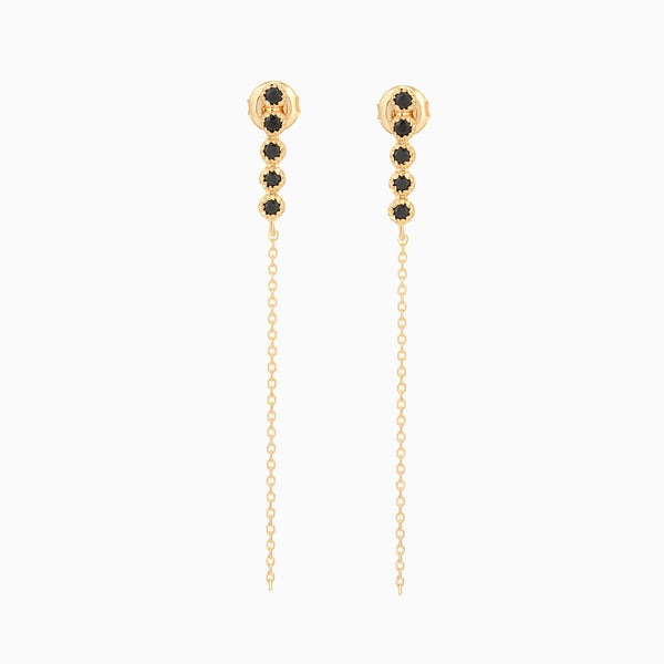 Golden Grace Black Spinel Studs