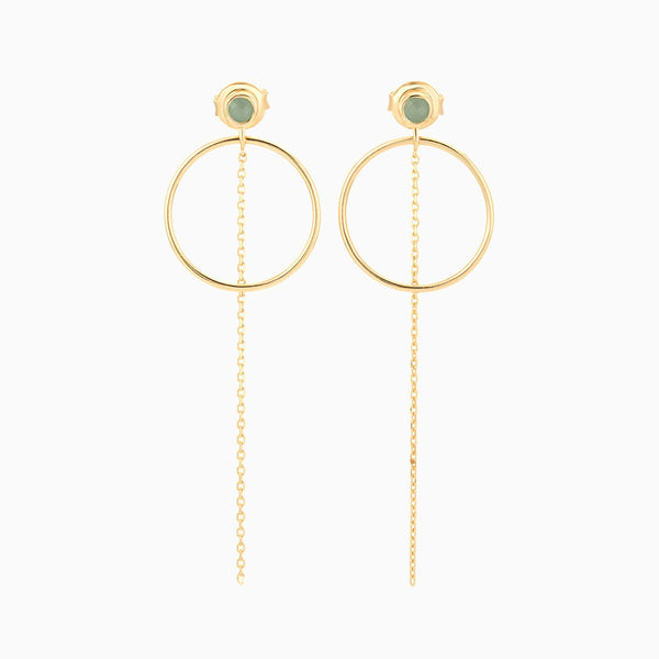 Golden Circle Green Aventurine Earrings