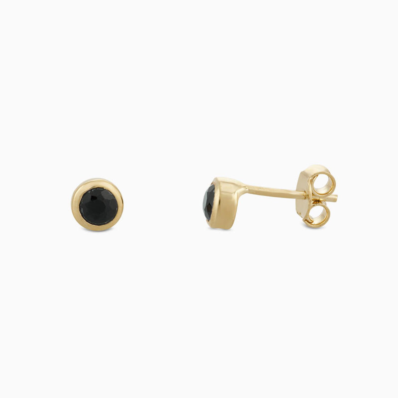 Golden Black Onyx 5mm Studs