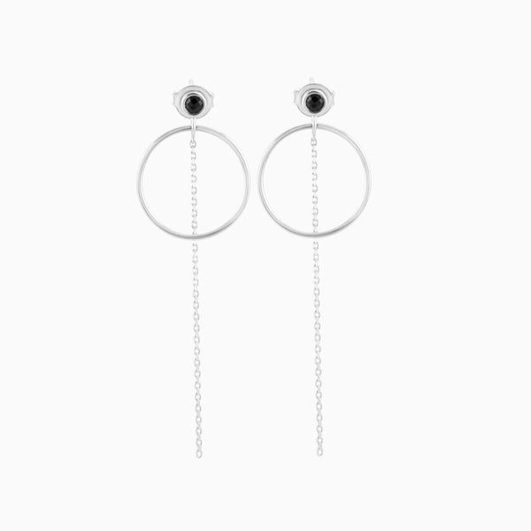 Circle Black Spinel Earrings