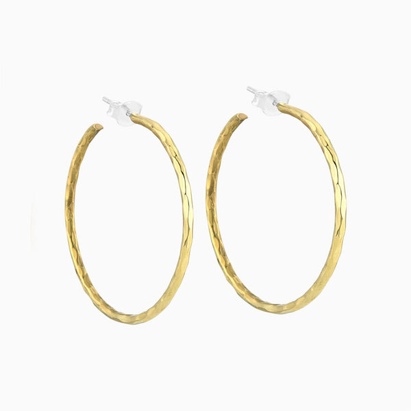 Hammered Hoops 40mm (w/silver)