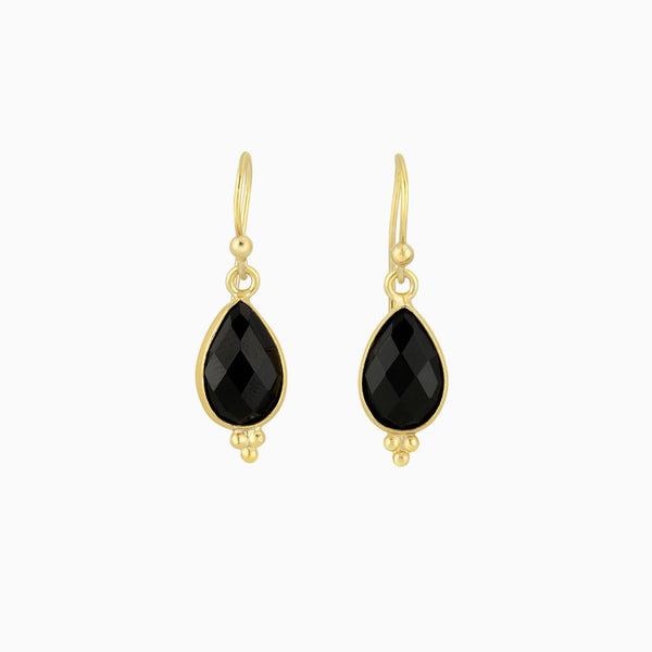 Drop Facet Black Onyx Earrings