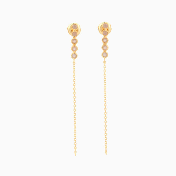 Golden Grace Peach Moonstone Studs