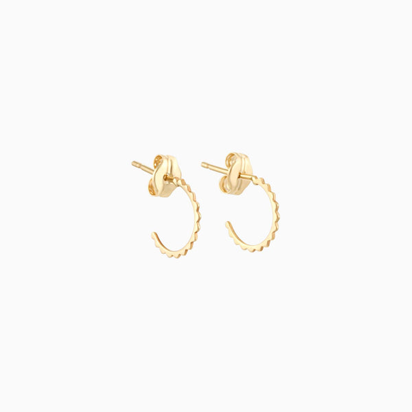 14k Twirl Diamond Cut Hoops
