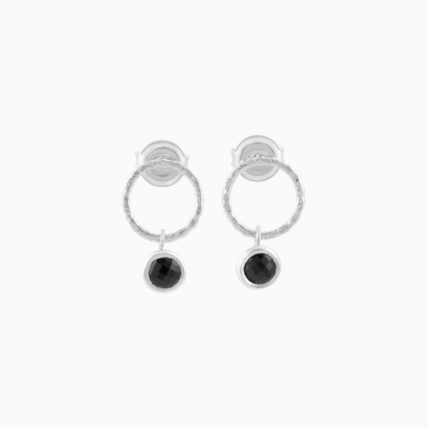 Circle Black Spinel Studs
