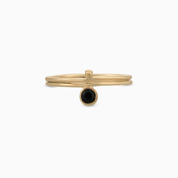 Golden Circle Facet Black Spinel Ring