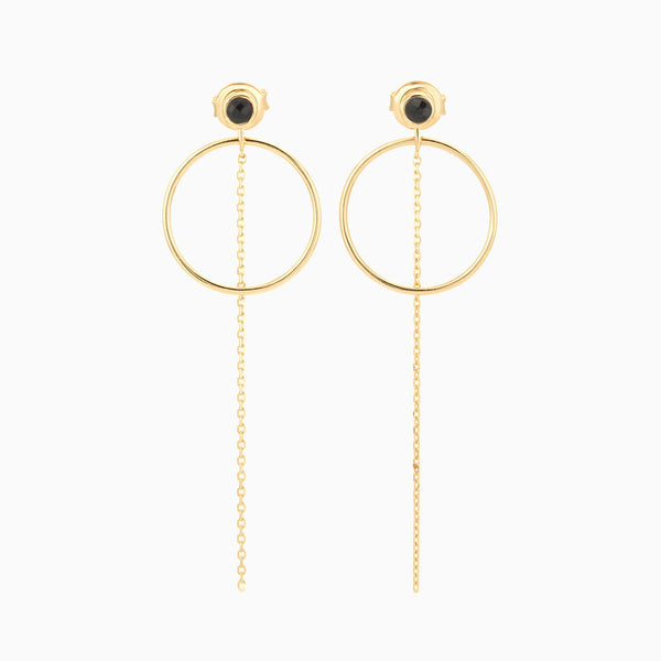 Golden Circle Black Spinel Earrings