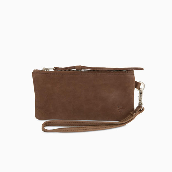 Zip Clutch Nubuck Brown