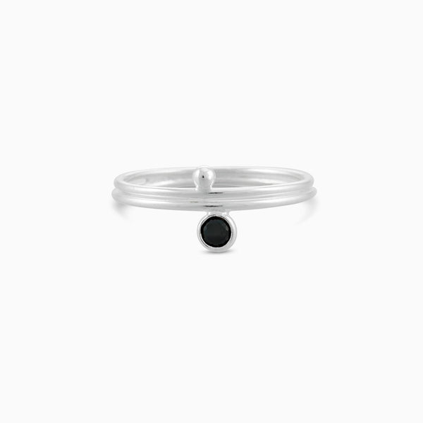 Circle Facet Black Spinel Ring