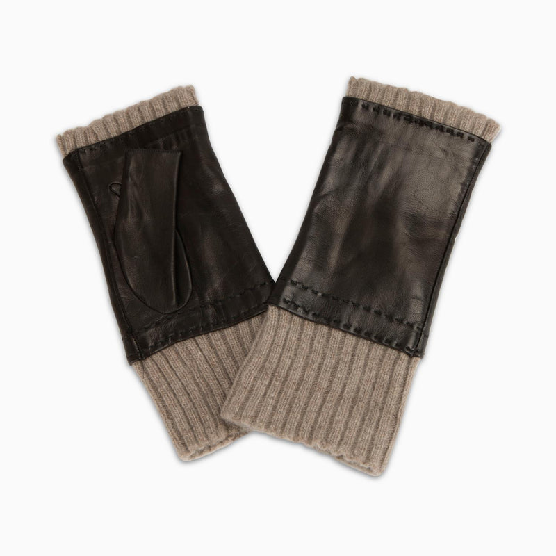 Fingerless Leather Gloves Cashmere