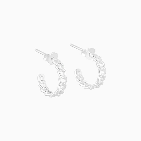 Silver Chain Hoops