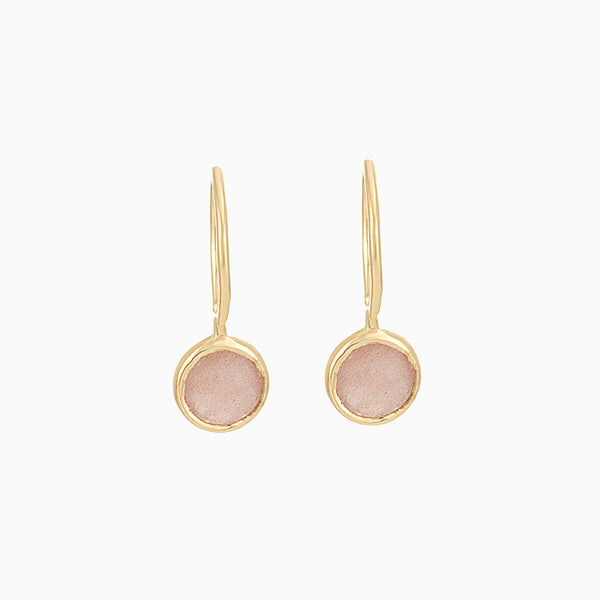 Golden Peach Moonstone Earrings