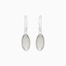 Elliptical Grey Moonstone Earrings
