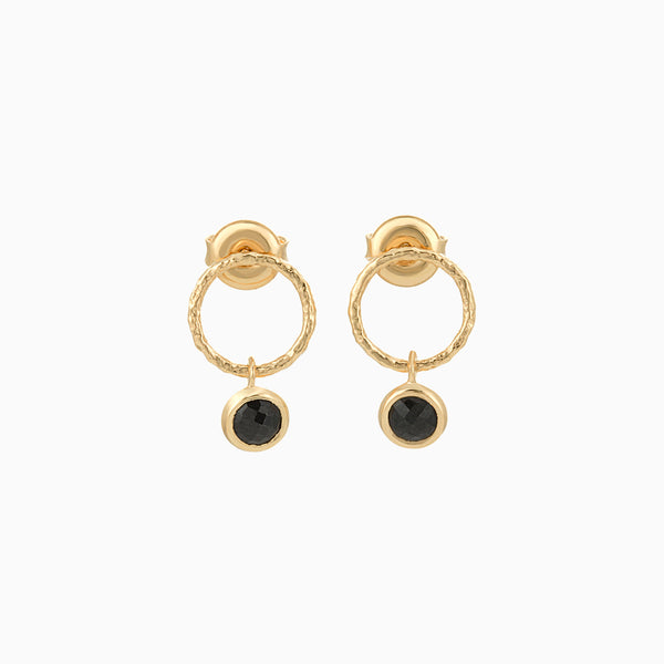 Golden Circle Black Spinel studs
