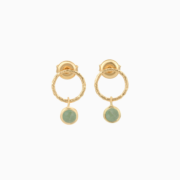 Golden Circle Green Aventurine studs