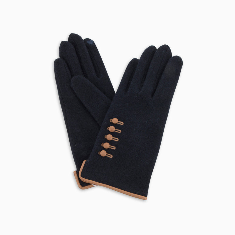 Wool Touch Gloves Buttons Deep Blue