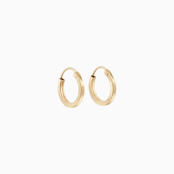 14k Square Hoops 12mm