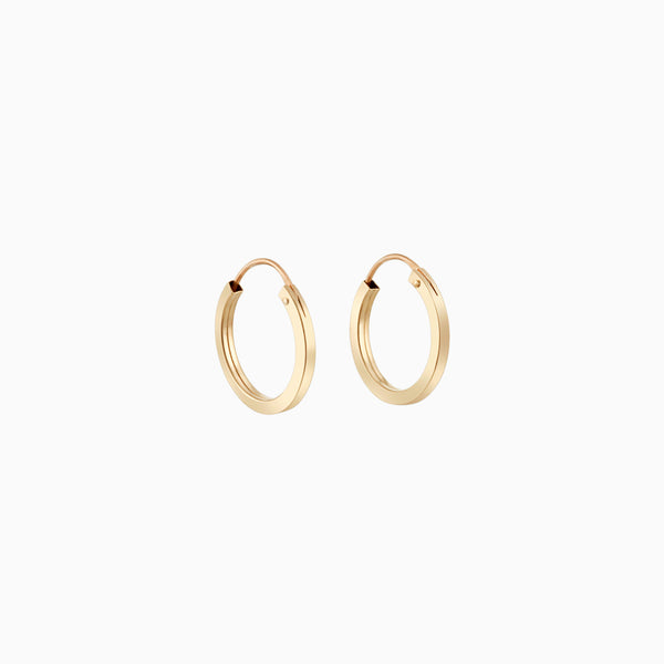 14k Square Hoops 14mm