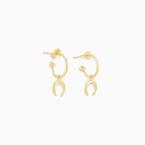 Golden Crescent Moon Hoops