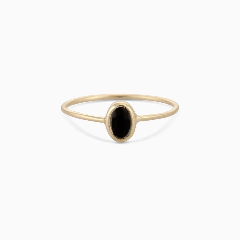 Golden Oval Facet Black Onyx