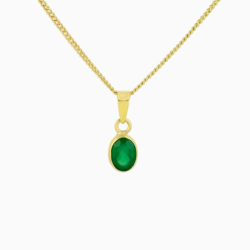 Oval Facet  Green Onyx (Pendant)