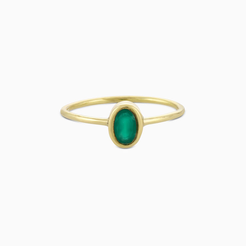 Oval Facet Green Onyx