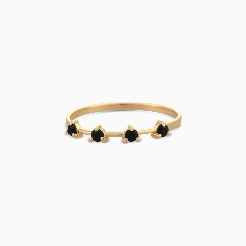 Golden Grace Black Spinel Ring