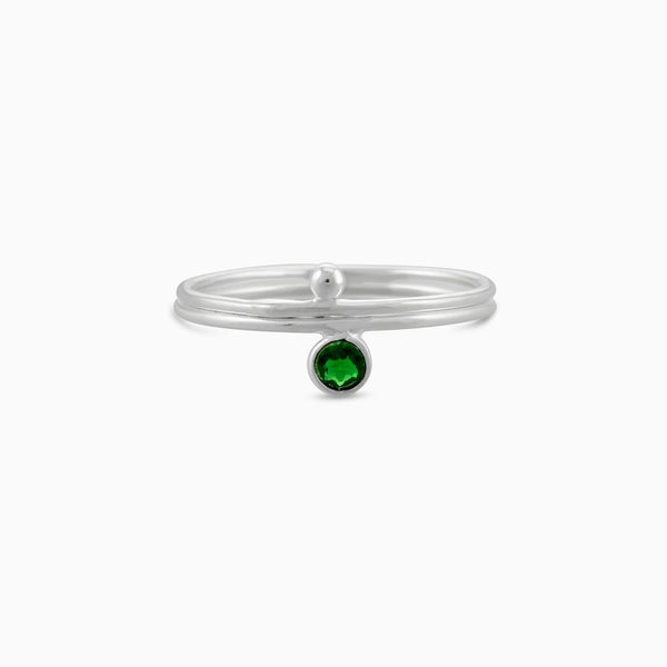 Circle Facet Green Tourmaline Ring