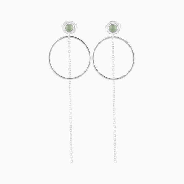 Circle Green Aventurine Earrings
