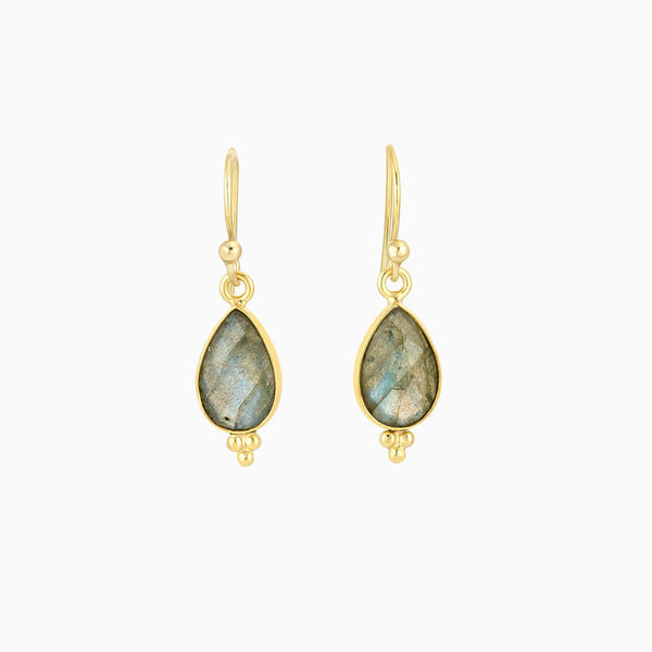 Drop Facet Labradorite Earrings