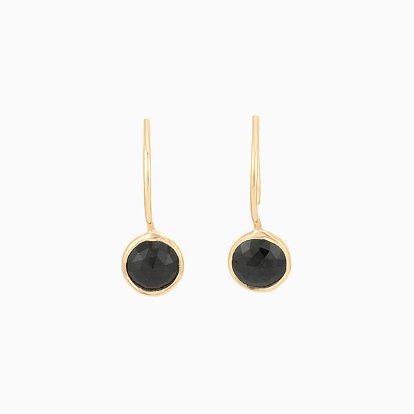 Golden Black Spinel Earrings