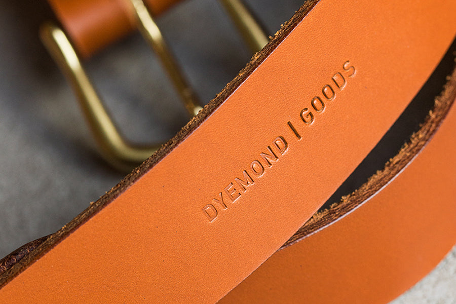 benzak denim developers vegetable tanned leather belt 5YA collaboration. dyemond goods are designed, developed and made by hand. sustainably made goods.