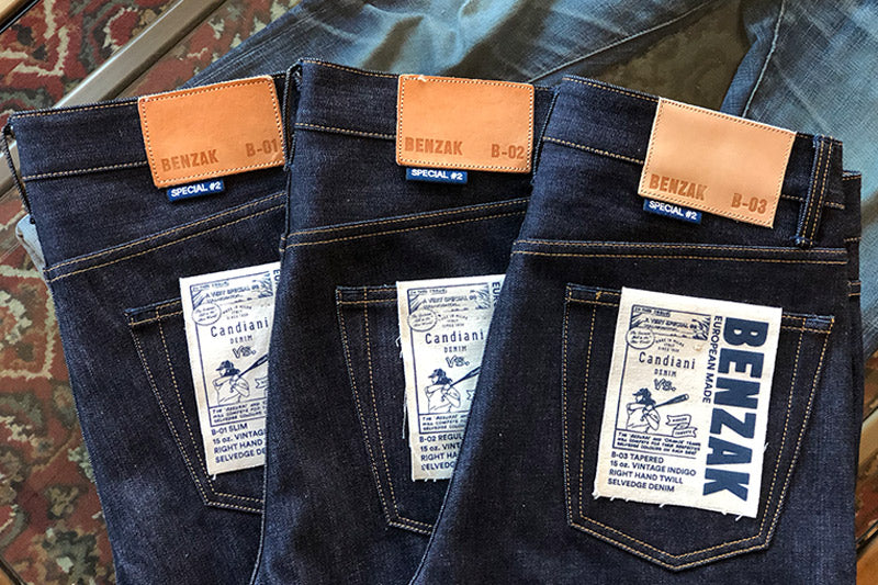 BENZAK Denim Developers B-03 TAPERED made from the special #2 15 oz. vintage indigo selvedge denim jeans. The fabric is a collaboration with Candiani Denim