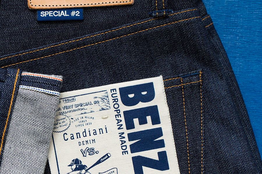 candiani denim and benzak denim developers european denim brand collaboration. B-01 SLIM special #2 15 oz. vintage indigo selvedge