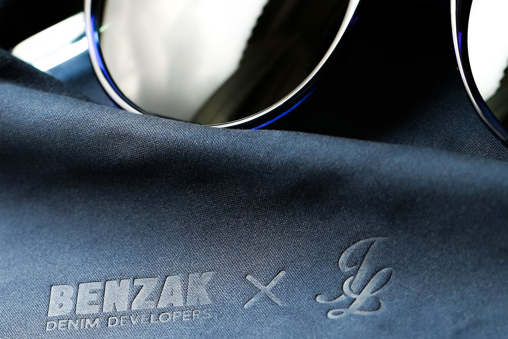 johnny loco sunglasses and benzak denim developers indigo dip carl zeiss sunglasses made in collaboration for the 5YA of benzak
