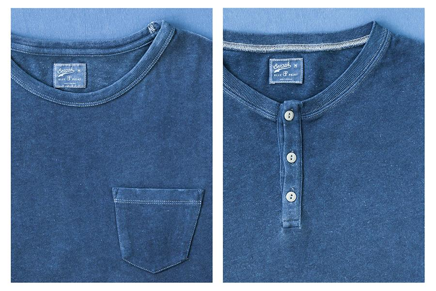 Benzak x blue print amsterdam Presents Natural Indigo Dyed Shirt & Henley, hand dyed with natural indigo dye in amsterdam