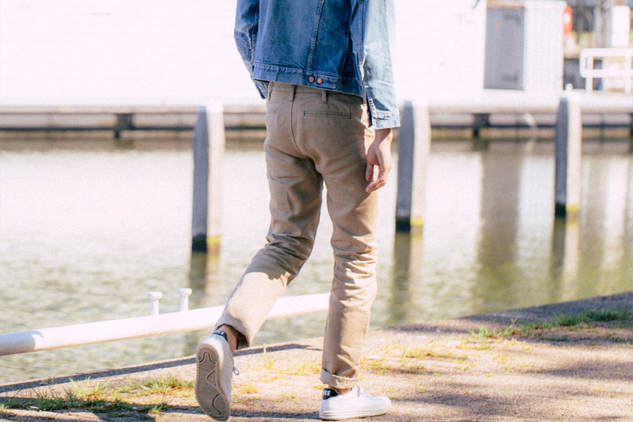 benzak denim developers classic summer style featuring selvedge cotton linen chinos sustainably made in italy. Summer style, and lightweight trousers made for warm weather and comfort