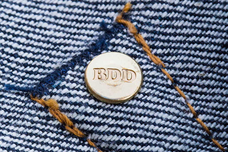BDD BENZAK hidden rivet button metal label leather patch trims made in Japan selvedge selvage