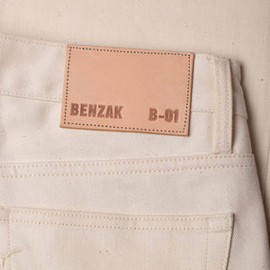 men's slim fit italian selvedge denim jeans | ecru jeans | benzak B-01 SLIM 12 oz. ecru selvedge | leather patch