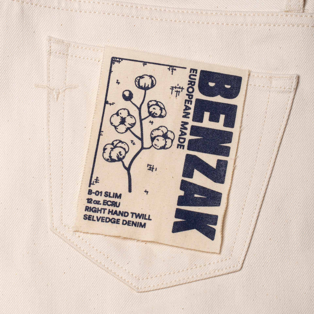 men's slim fit italian selvedge denim jeans | ecru jeans | benzak B-01 SLIM 12 oz. ecru selvedge | Berto | visla graphic
