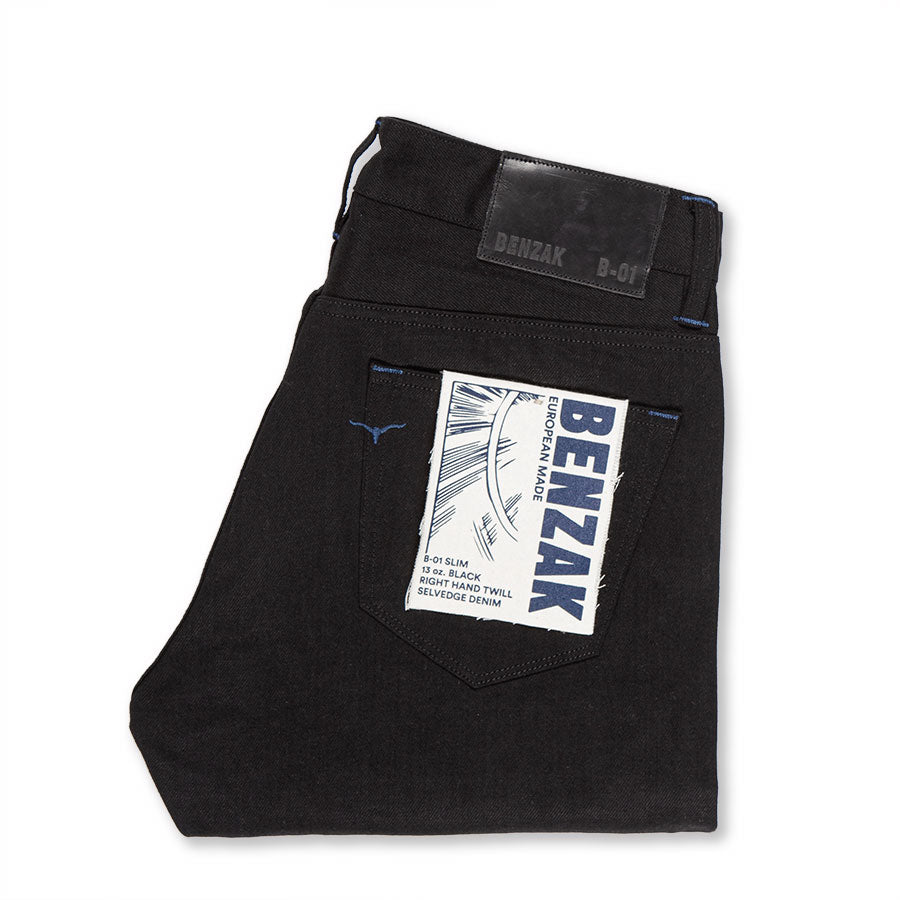 men's slim fit italian selvedge denim jeans | indigo | benzak B-01 SLIM 13 oz. black selvedge | candiani | back