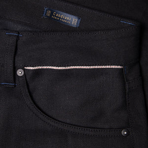 men's slim fit italian selvedge denim jeans | indigo | benzak B-01 SLIM 13 oz. black selvedge | candiani | sixth pocket