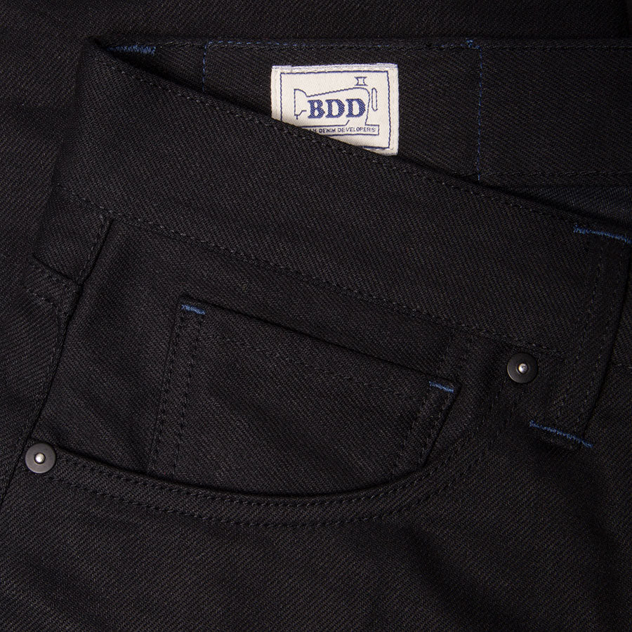 men's slim fit italian selvedge denim jeans | indigo | benzak B-01 SLIM 13 oz. black selvedge | Candiani | coin pocket