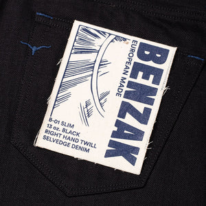 men's slim fit italian selvedge denim jeans | indigo | benzak B-01 SLIM 13 oz. black selvedge | Candiani | artwork