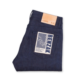 men's slim fit japanese selvedge denim jeans | indigo | benzak B-01 SLIM 13 oz. blue flame BT selvedge | kurabo | back