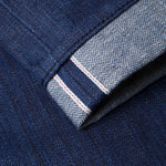 men's slim fit japanese  selvedge denim jeans | indigo | benzak B-01 SLIM 13 oz. blue flame BT selvedge | kurabo | fit pic back