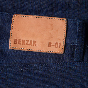 men's slim fit japanese  selvedge denim jeans | indigo | benzak B-01 SLIM 13 oz. blue flame BT selvedge | kurabo | leather patch