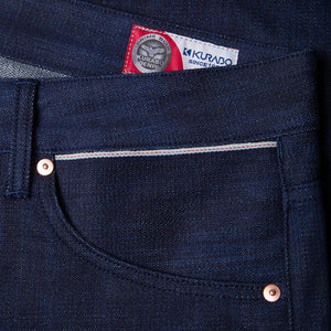 men's slim fit japanese  selvedge denim jeans | indigo | benzak B-01 SLIM 13 oz. black selvedge | Candiani | sixth pocket