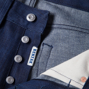 men's slim fit japanese  selvedge denim jeans | indigo | benzak B-01 SLIM 13 oz. blue flame BT selvedge | kurabo | button fly