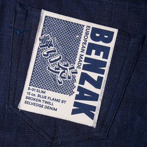 men's slim fit japanese  selvedge denim jeans | indigo | benzak B-01 SLIM 13 oz. blue flame BT selvedge | kurabo | artwork